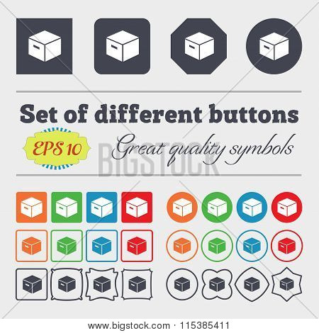 Packaging Cardboard Box Icon Sign. Big Set Of Colorful, Diverse, High-quality Buttons.