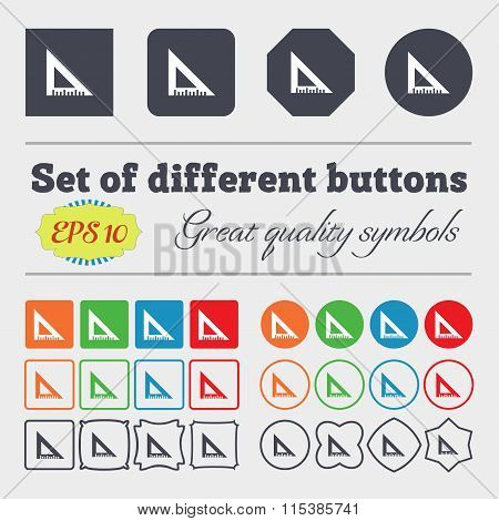 Ruler Icon Sign. Big Set Of Colorful, Diverse, High-quality Buttons.