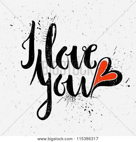 Calligraphic inscription I love you.