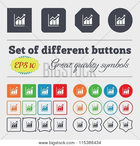 Growing Bar Chart Icon Sign. Big Set Of Colorful, Diverse, High-quality Buttons.