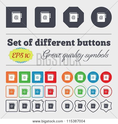 Notebook, Address, Phone Book Icon Sign. Big Set Of Colorful, Diverse, High-quality Buttons.