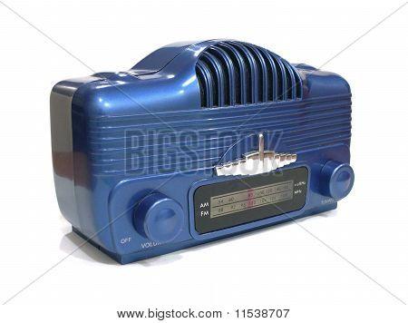 mini blue retro radio