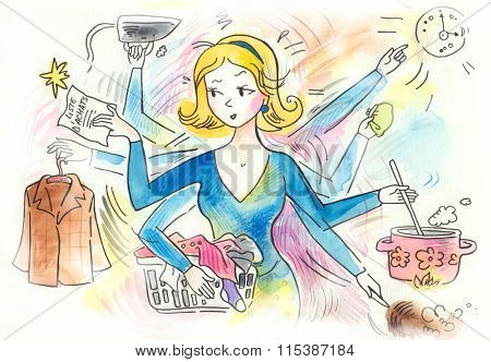 The typical woman that has a lots of chores to do! Doing laundry, cooking, cleaning, ironing, shopping, running errands...