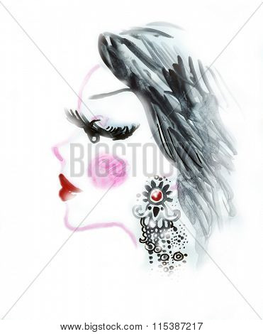 Watercolor fashion illustration with digital enhancements. Clean background.