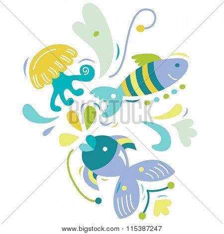 Cute aquatic creatures in bright colors