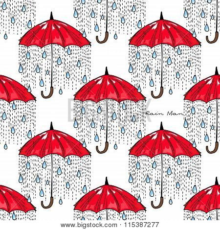 Hand-drawn Illustrations. Rain Under A Red Umbrella. Postcard Rain Man. Seamless Pattern.