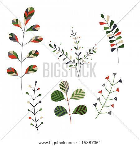 Set of minimalistic, stylized plants.