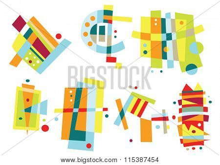 Collection of abstract, geometric elements in bright colors.