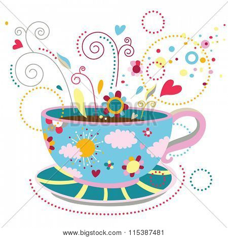 Colorful cup of coffee that represent happiness, feeling good, relaxation, enjoying simple pleasures of life.