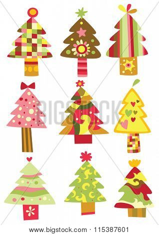Collection of colorful Christmas trees with geometrical shapes.