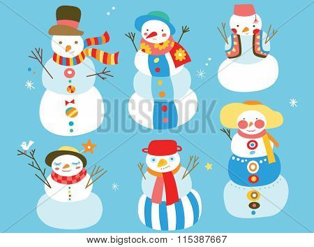 Group of cute snowmen with fun colors and details.