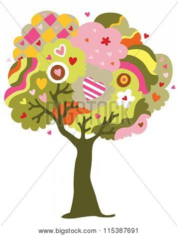 Whimsical tree of love filled with hearts instead of fruits.