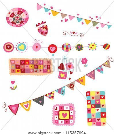 Set of colorful elements with hearts, perfects for Valentine's Day. It includes two decorative banners. Whimsical, cheerful shapes and colors.