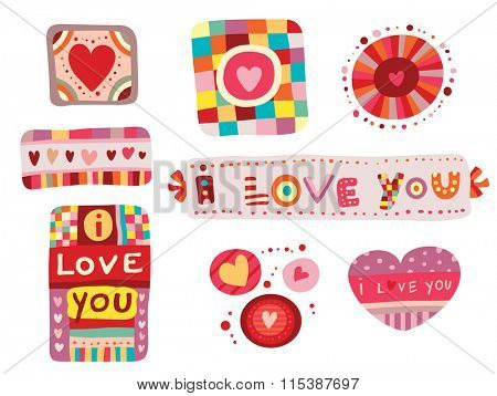 Set of colorful love elements, perfect for Valentine's Day Abstract objects with hearts and whimsical shapes.