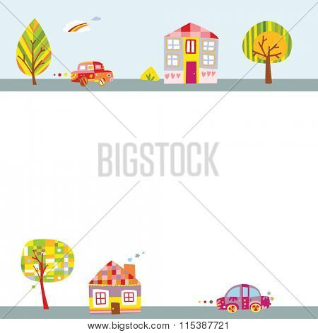 Cute background with landscape featuring colorful houses, adorable cars and trees.
