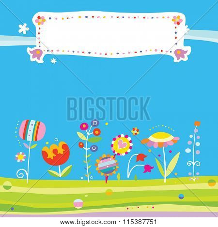Colorful background with cute flowers and fresh colors. Includes space for a title.