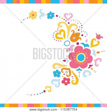 Pretty background with flowers and swirls in fresh colors.