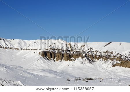 Winter Mountains At Sun Day
