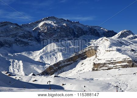 Ski Resort At Sunny Evening