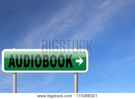 audiobook, listen online or buy and download audio book; road sign, billboard.