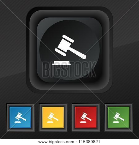 Judge Or Auction Hammer Icon Symbol. Set Of Five Colorful, Stylish Buttons On Black Texture For