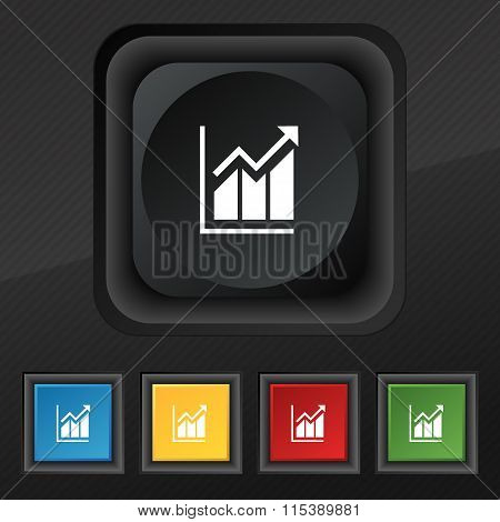 Growing Bar Chart Icon Symbol. Set Of Five Colorful, Stylish Buttons On Black Texture For Your