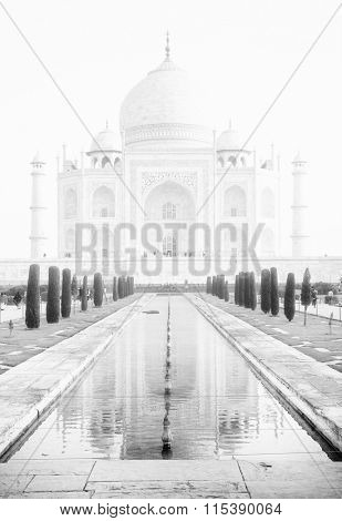 Fog over Taj Mahal in India, Agra, Uttar Pradesh, Asia