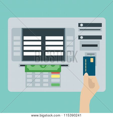 Atm Terminal And Credit Card, Cash, Bank Service. Flat Design Vector