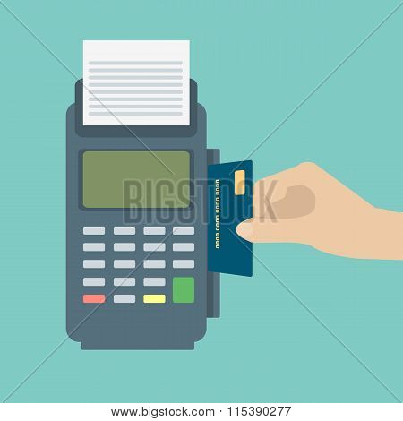 Hand Inserting Credit Card To A Pos Terminal. Payment Terminal . Flat Design Vector