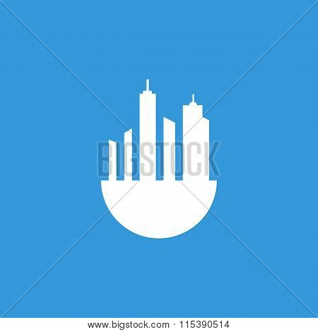 Green City Icon On Blue Background