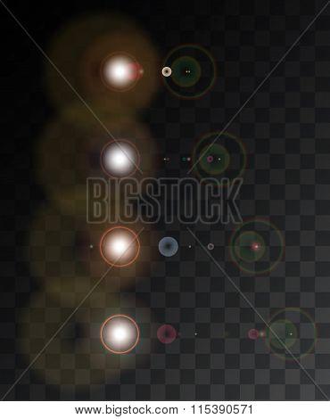 Vector modern light flash on sample background.