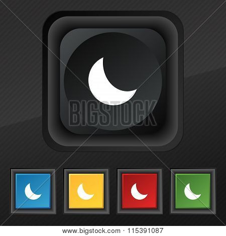 Moon Icon Symbol. Set Of Five Colorful, Stylish Buttons On Black Texture For Your Design.