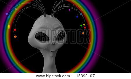 Humanoid gray with the antennas on his head,  using an antennas humanoid makes a rainbow.