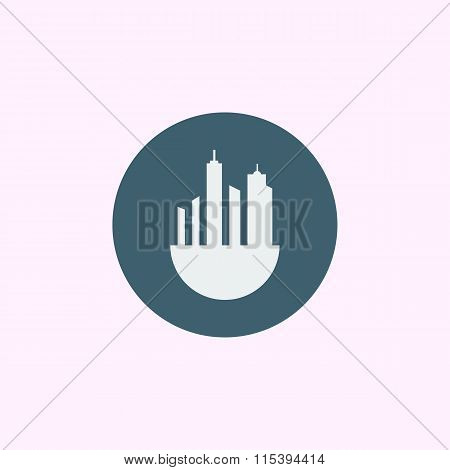 Green City Icon On Blue Circle Background