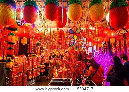 Chinatown Vendor Selling Lanterns And New Year Decorations