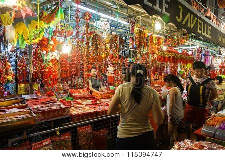 Chinatown Vendor Selling Chinese New Year Decorations