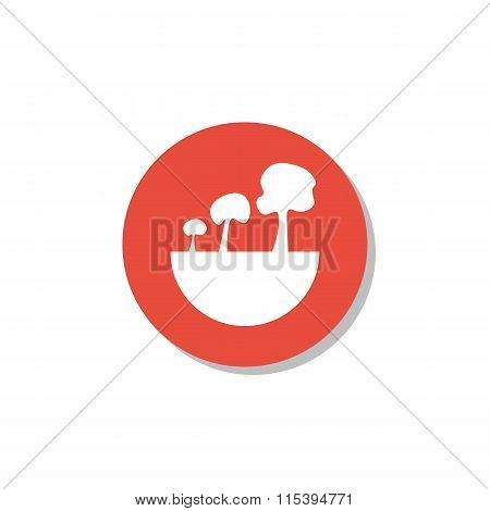 Green City Tree Icon On Red Circle Background