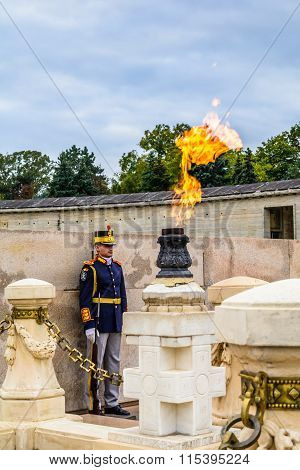 Bucharest, Romania - December 20, 2015: National Guardsmen At Heroes's Mausoleum, Carol Park. It Is