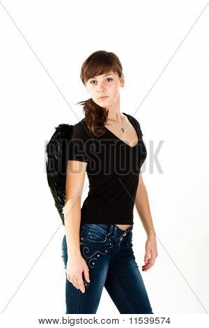 Beautiful Girl Standing In Black Wings