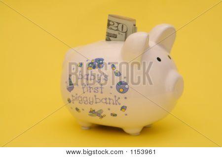 Piggybank For Baby Yellow Background