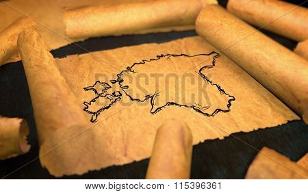 Estonia Map Drawing Unfolding Old Paper Scroll 3D
