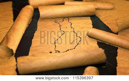 Finland Map Drawing Unfolding Old Paper Scroll 3D