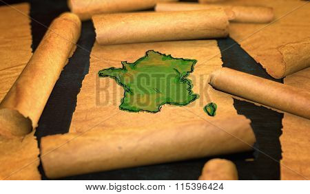 France Map Painting Unfolding Old Paper Scroll 3D