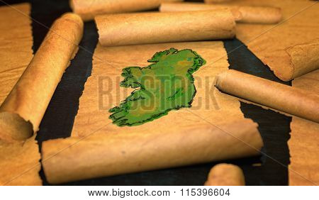 Ireland Map Painting Unfolding Old Paper Scroll 3D