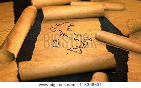 Italy Map Drawing Unfolding Old Paper Scroll 3D