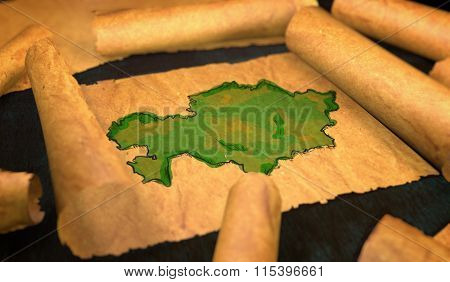 Kazakhstan Map Painting Unfolding Old Paper Scroll 3D