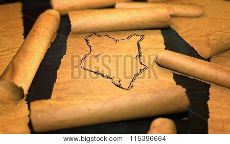 Kenya Map Drawing Unfolding Old Paper Scroll 3D