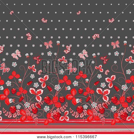 Vertical Seamless spring dark gray floral pattern with red pinkstrawberries, leaves and flowers and pink butterflies
