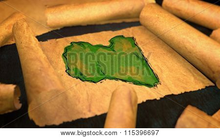 Libya Map Painting Unfolding Old Paper Scroll 3D