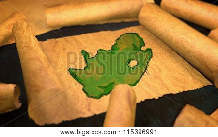 South Africa Map Painting Unfolding Old Paper Scroll 3D